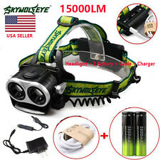 15000LM 2X XM-L T6 Headlamp Headlight LED Rechargeable USB + 2 Battery+2 Charger