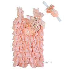 Baby Pearl Crystal Flower Peach Lace Petti Rompers Headband 2pcs Set
