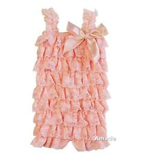 Baby Peach Lace Petti Rompers NB-3Y