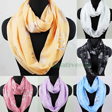 Fashion Womens Silver Geometric Pattern Polyester Infinity Circle Loop Scarf New