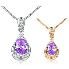 Oval Purple Amethyst Round White Topaz 18K Gold Filled Pendant & Necklace 18""