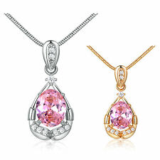 """Jewelry Oval Cut Pink Topaz 18K Gold Filled Pendant & Necklace Snake Chain 18"""""""