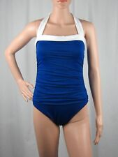 Ralph Lauren Tummy Control Ruched Halter One-Piece Swimsuit Slimming Size 8-16