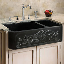"33"" Floral 70/30 Offset Double Bowl Polished Granite Farmhouse Sink"