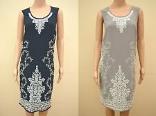 Next Tailored Grey Or Navy Blue White Embroidered Sequin Shift Dress UK 10