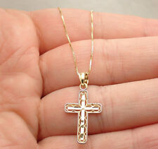 Diamond Cut Filigree Cross with Box Chain Necklace Real Solid 14K Yellow Gold