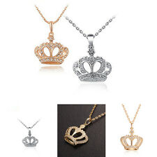 Women's Classic Gold Plated Crown Pendant Rhinestone Chain Necklace Jewelry JG