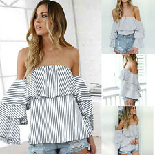 Women Summer Long Sleeve Off Shoulder Casual Blouse Striped Pullover T-Shirts