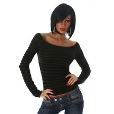 24brands Women's Pullover Sexy Long Sleeve Shirt Pullover Top striped - 3162