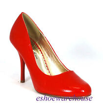 So Cute Round Toe Stiletto Pumps Crinkle Red Patent