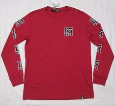 """LOVE MOSCHINO Mens """"LM"""" Red Long-Sleeve Crewneck T-Shirt Size M, L"""
