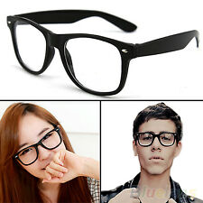 1pc  Retro Unisex Mens Womens Clear Lens Wrap Nerd Geek Glasses Eyewear