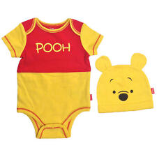 "Disney Baby Winnie the Pooh Red/Yellow ""Pooh"" Printed Bodysuit & Matching Hat"