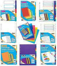FILE DIVIDERS Plastic Coloured Tabs Subject Filing Number Multi Punched {Tiger}