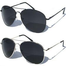 DARK LENS Large Aviator Sunglasses Classic Retro Tear Drop Style Sunnies