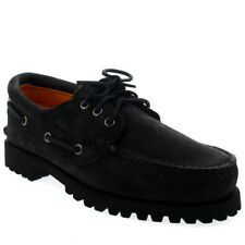 Mens Timberland Authenic 3 Eye Black Leather Smart Lace Up Deck Shoes UK 7-13