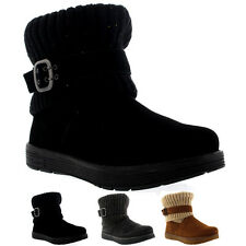Womens Skechers Adorbs Mid Calf Winter Warm Suede Knitted Casual Boots UK 3-8