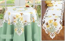Table Linens Embroidered Blossoming Butterfly runner or topper white yellow
