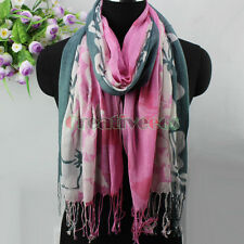 Spring Women's Fashion Flower&Leaves Tassel Cotton and Linen Long Scarf Shawl