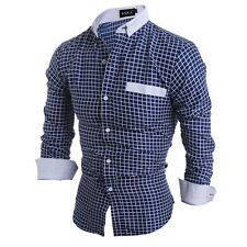 New Men's Luxury Slim Fit Long Sleeve Formal Dress Shirt Casual Shirts Tops XXL