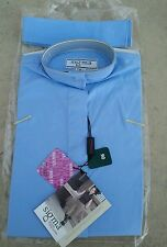 NWT SIGMA Elegance Girls $39 Short Sleeve Cotton Ratcatcher Show Shirt Lt Blue