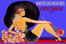 ISCHIA ITALY MARVELOUS BEACHES FASHION GIRL BIG HAT TRAVEL VINTAGE POSTER REPRO