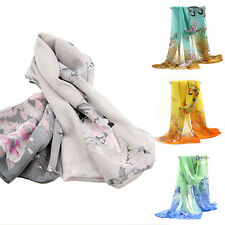 Women Ladies Medium Long Chiffon Stole Scrawl Flower Wrap Soft Scarf Bluelans