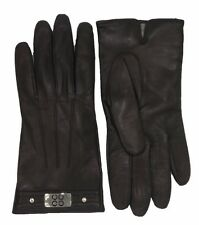 COACH Leather Gloves Brown for Mens Cashmere Lined Logo Winter Glove F82045 NEW