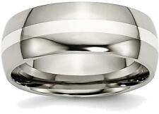 Titanium w/ Sterling Silver Inlay 8mm Polished Band Ring