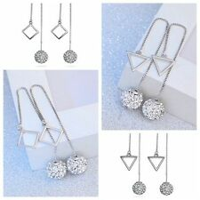 1 Pair  Jewelry Women Rhombus Crystal Ball Long Drop Earrings Silver Plated