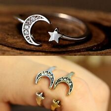Vintage Silver/Bronze Crescent Lucky Star Moon Knuckle Rings Sister Gift Jewelry
