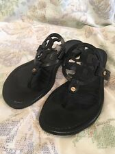 Tory Burch Miller Black Leather Thong Flat Sandals Size 8