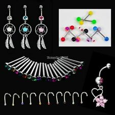 Crystal Catcher Navel Dangle Barbell Nose Tongue Belly Bar Ring Body Piercing ED