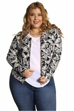 DEALZONE Printed Front Zipper Top Vest 1X Women Plus Size Black Long Sleeve