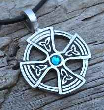 PEWTER Celtic SOLAR CROSS Irish BLUE TOPAZ Crystal DECEMBER Birthstone Pendant