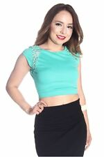 DEALZONE Sexy Crochet Decor Top S M L Small Medium Large Women Aqua Casual