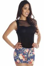 DEALZONE Gorgeous Mesh Front Top Set S Small Women Black Casual Full-Length