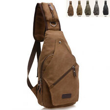 Mens canvas Chest Bag Shoulder Cross Body Messager Travel Hiking Bags
