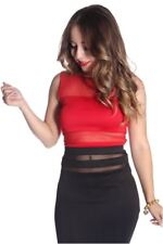 121AVENUE Sexy Caged Back Crop Top S M Small Medium Women Red Short Sleeve