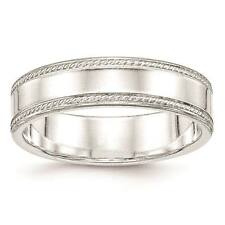 925 Sterling Silver 6mm Edged Design Polished Wedding Ring Band Sizes 4 - 12