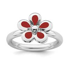 925 Sterling Silver Rhodium-Plated Red Enameled Flower Stackable Ring Sz 5 - 10