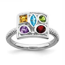 Sterling Silver Polished Rhodium-Plated Multi Gemstone Stackable Ring Sz 5 - 10