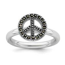 925 Sterling Silver Rhodium-Plated Marcasite Peace Sign Stackable Ring Sz 5 - 10