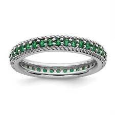 925 Silver Rhodium-Plated Created-Emerald Eternity Stackable Ring Sz 5 - 10