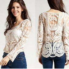 Women's Semi Sheer Sleeve Embroidery Floral Lace Crochet T-Shirt Top Blouse