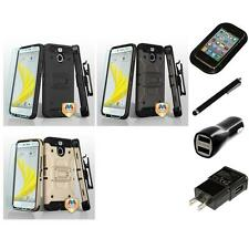 For HTC BOLT Hybrid TUFF IMPACT Holster Clip Hard Case Cover Charger Stylus