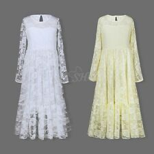 Long Sleeve Princess Wedding Flower Girl Party Prom Dance Ball Gown Lace Dress