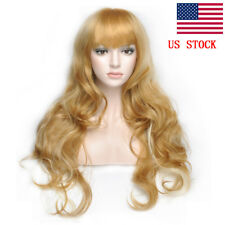 New Sexy Womens Heat Resistant 25.5inch Blonde Middle Long Curly Wig + Wig Cap