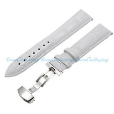 12-24mm White Genuine Leather Alligator Crocodile Grain Watch Strap Band Buckle