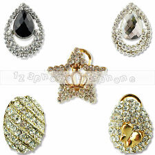 1 PAIR WOMEN FASHION ELEGANT STEEL RHINESTONE EAR CLIP STUD EARRING JEWELRY